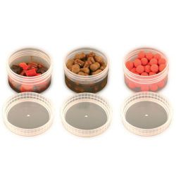 FOX BAIT TUBS HALF SIZE CLEAR X 6