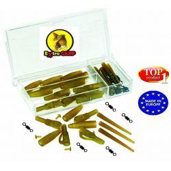 EXTRA CARP LEAD CLIP SET WITH ANTI TANGLE SLEEVES